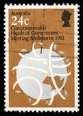 Stamp printed in Australia shows Commonwealth Heads of Government Meeting, Melbourne 1981 — Stock Photo