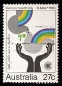 Stamp from Australia shows image celebrating social justice and cooperation — Stock Photo