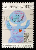 """Stamp printed in Australia shows the Caricature """"Medical checkups"""", Community health — Stock Photo"""