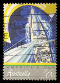 Stamp printed in the Australia shows View of Yachts Racing, Americas Cup — Stock Photo