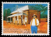 Stamp printed in AUSTRALIA shows the Historic Australian Post Offices, Old Post Office and Telegraph Station, Alice Springs — Stock Photo