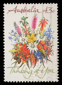 "Stamp printed in AUSTRALIA shows the Bunch of flowers with the description ""Thinking of You"" — Stock Photo"
