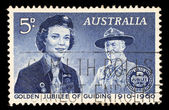 Stamp printed in the Australia shows Girl Guide and Lord Baden-Powell, 50th Anniversary of the Girl Guides — Stock Photo