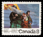 Stamp printed by Canada, shows Scottish Settlers — Stock Photo