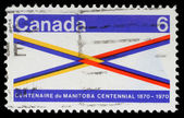 Stamp printed in Canada honoring Manitoba Centennial — Stock Photo