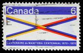 Stamp printed in Canada honoring Manitoba Centennial — Stock Photo
