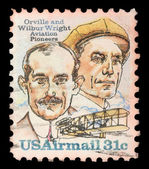 Stamp printed in USA shows image of the brothers Orville and Wilbur Wright - American aviation pioneers — Stock Photo