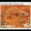 Stamp printed in Australia from the Wildlife issue shows a Centralian blue-tongued lizard — Stock Photo