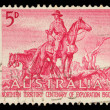 Stamp printed in the Australia shows The Overlanders by Sir Daryl Lindsay, Centenary of Exploration of Australias Northern Territory — Stock Photo