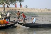 Wooden boat crosses the Ganges River in Gosaba, West Bengal, India. — Stock Photo