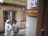 Podepsat na vchod do domu matky, sídla matka teresa v kalkata, západní bengálsko, indie — Stock fotografie