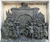 Bronze memorial panel at the Victoria Memorial building in Kolkata, India — Stock Photo
