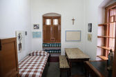 The former room of Mother Teresa at Mother House in Kolkata, West Bengal, India — Stock Photo