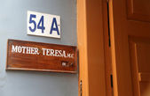 Sign on the entrance to Mother House, the residence of Mother Teresa in Kolkata — Stock Photo