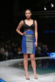 Fashion model wearing clothes designed by Boris Banovic on the 'Fashion.hr' show in Zagreb, Croatia. — Stock Photo