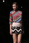 "Fashion model wears clothes made by Anamarija Asanovic on ""CRO A PORTER"" show — Stock Photo"