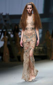 "Fashion model wears clothes made by Matija Vuica on ""CRO A PORTER"" show — Foto de Stock"