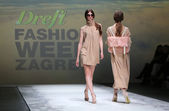 Fashion model wearing clothes designed by Kralj and Krajina on the Zagreb Fashion Week on May 09, 2014 in Zagreb, Croatia — Stock Photo