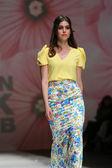 Fashion model wearing clothes designed by Monika Sablic on the Zagreb Fashion Week on May 09, 2014 in Zagreb, Croatia. — Stock Photo