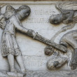 ������, ������: Beheading of St John the Baptist detail of marble carvings on the Baptistery Parma Italy