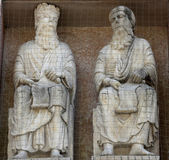 Saints, marble statue on the Baptistery, Parma, Italy — Stock Photo