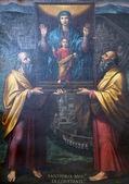 Virgen maría con el niño jesús y los santos — Foto de Stock