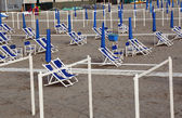 Typical Italian beach chairs in Viareggio — Stock Photo