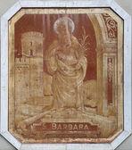 Santa barbara peinture sur la façade de la maison à rapallo — Photo