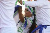 サンティアゴ · デ · カリ、コロンビア 7 月クロアチア、ザグレブの中心の第 48 国際民俗祭の間にからの民族グループ コロンビア民俗財団のメンバー 16,2014 — ストック写真
