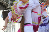 Members of folk groups Colombia Folklore Foundation from Santiago de Cali, Colombia during the 48th International Folklore Festival in center of Zagreb,Croatia on July 16,2014 — Stock Photo
