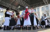 Membros de grupos folclóricos jéssica medimurci da croácia durante o 48 festival internacional de folclore no centro de zagreb, croácia em 16 de julho de 2014 — Fotografia Stock