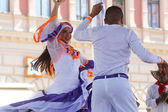 Members of folk group Colombia Folklore Foundation from Santiago de Cali, Colombia during the 48th International Folklore Festival in center of Zagreb,Croatia on July 17,2014 — Stockfoto