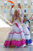 Members of folk group Colombia Folklore Foundation from Santiago de Cali, Colombia during the 48th International Folklore Festival in center of Zagreb,Croatia on July 17,2014 — Stock Photo