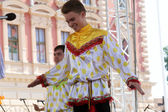 Members of folk group Moscow, Russia during the 48th International Folklore Festival in center of Zagreb, Croatia — Stock Photo