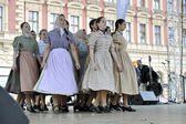 Members of folk groups Nograd from Salgotarjan, Hungary during the 48th International Folklore Festival in center of Zagreb, Croatia on July 19, 2014 — Stock Photo