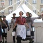 Постер, плакат: Members of folk group Hasselt Flanders Folk Group De Boezeroenen from Belgium during the 48th International Folklore Festival in Zagreb