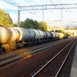 Tanks with fuel by rail — Stock Photo