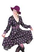 Beautiful woman gracefully dancing — Stock Photo
