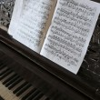 Music notes and piano keys — Stock Photo