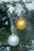 Christmas balls on a fir-tree in snow — Stock Photo