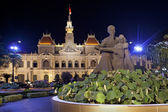 Night scene of the Ho Chi Minh City Hall. Vietnam — Stock Photo