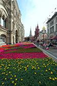 Flower landscaping on Nikolskaya Street in historic center of Mo — Stockfoto