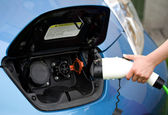 Ready to plug in electric car — Foto Stock