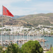 Bodrum and Turkish flag, Turkey - Stock Photo