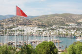Bodrum and Turkish flag, Turkey — Stock Photo
