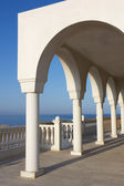 Balcony over Aegean Sea — Stock Photo