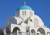 White and blue Greek church — Stock Photo
