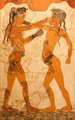 Fresco of boxing boys in Greece — Stock Photo