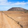 Trail and volcano on Island of Los Lobos in the Canary Islands — Stock Photo