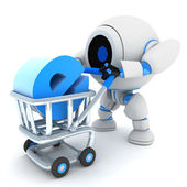 Robot and cart e-shop — Stock Photo
